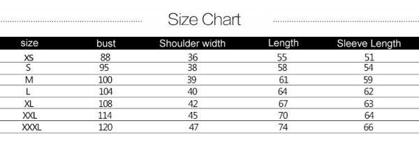 Baseball uniform size chart